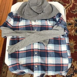 Flannel with attached hoodie